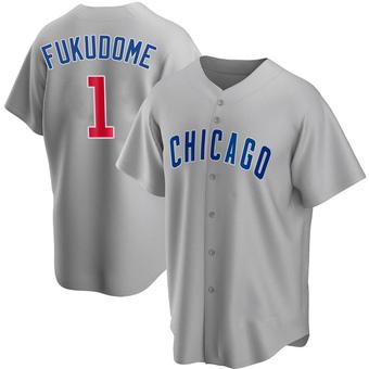 Men's Kosuke Fukudome Chicago Gray Replica Road Baseball Jersey (Unsigned No Brands/Logos)