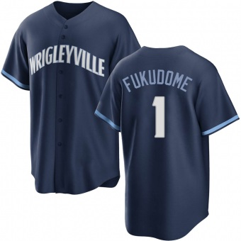 Men's Kosuke Fukudome Chicago Navy Replica 2021 City Connect Baseball Jersey (Unsigned No Brands/Logos)