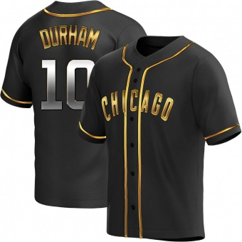 Men's Leon Durham Chicago Black Golden Replica Alternate Baseball Jersey (Unsigned No Brands/Logos)