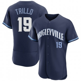 Men's Manny Trillo Chicago Navy Authentic 2021 City Connect Baseball Jersey (Unsigned No Brands/Logos)