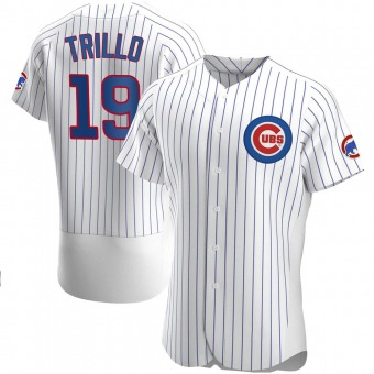Men's Manny Trillo Chicago White Authentic Home Baseball Jersey (Unsigned No Brands/Logos)
