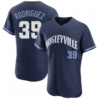 Men's Manuel Rodriguez Chicago Navy Authentic 2021 City Connect Baseball Jersey (Unsigned No Brands/Logos)