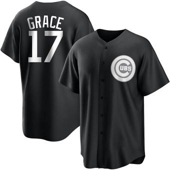 Men's Mark Grace Chicago Black/White Replica Baseball Jersey (Unsigned No Brands/Logos)
