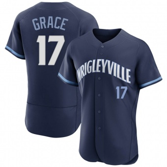 Men's Mark Grace Chicago Navy Authentic 2021 City Connect Baseball Jersey (Unsigned No Brands/Logos)