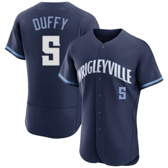 Men's Matt Duffy Chicago Navy Authentic 2021 City Connect Baseball Jersey (Unsigned No Brands/Logos)