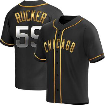 Men's Michael Rucker Chicago Black Golden Alternate Baseball Jersey (Unsigned No Brands/Logos)