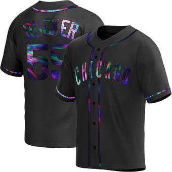 Men's Michael Rucker Chicago Black Holographic Alternate Baseball Jersey (Unsigned No Brands/Logos)