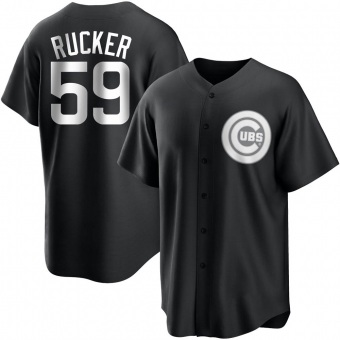 Men's Michael Rucker Chicago Black/White Replica Baseball Jersey (Unsigned No Brands/Logos)