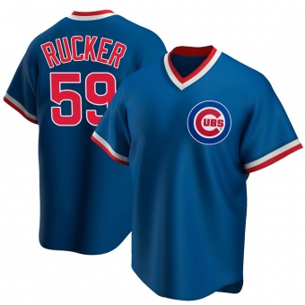 Men's Michael Rucker Chicago Royal Replica Road Cooperstown Collection Baseball Jersey (Unsigned No Brands/Logos)