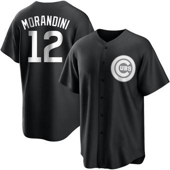 Men's Mickey Morandini Chicago Black/White Replica Baseball Jersey (Unsigned No Brands/Logos)