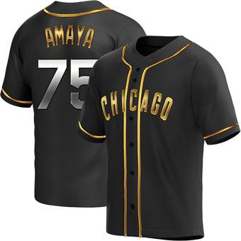 Men's Miguel Amaya Chicago Black Golden Replica Alternate Baseball Jersey (Unsigned No Brands/Logos)