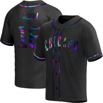 Men's Moises Alou Chicago Black Holographic Replica Alternate Baseball Jersey (Unsigned No Brands/Logos)