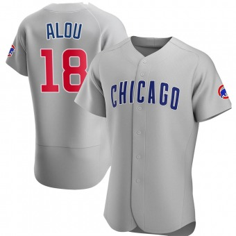 Men's Moises Alou Chicago Gray Authentic Road Baseball Jersey (Unsigned No Brands/Logos)