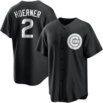 Men's Nico Hoerner Chicago Black/White Replica Baseball Jersey (Unsigned No Brands/Logos)