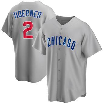 Men's Nico Hoerner Chicago Gray Replica Road Baseball Jersey (Unsigned No Brands/Logos)