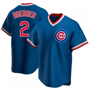 Men's Nico Hoerner Chicago Royal Replica Road Cooperstown Collection Baseball Jersey (Unsigned No Brands/Logos)