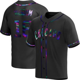 Men's Patrick Wisdom Chicago Black Holographic Replica Alternate Baseball Jersey (Unsigned No Brands/Logos)