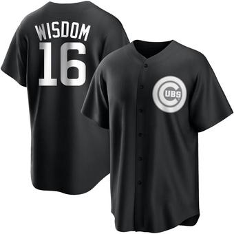 Men's Patrick Wisdom Chicago Black/White Replica Baseball Jersey (Unsigned No Brands/Logos)
