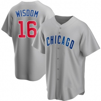Men's Patrick Wisdom Chicago Gray Replica Road Baseball Jersey (Unsigned No Brands/Logos)