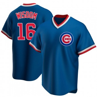 Men's Patrick Wisdom Chicago Royal Replica Road Cooperstown Collection Baseball Jersey (Unsigned No Brands/Logos)