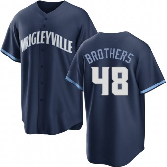 Men's Rex Brothers Chicago Navy Replica 2021 City Connect Baseball Jersey (Unsigned No Brands/Logos)