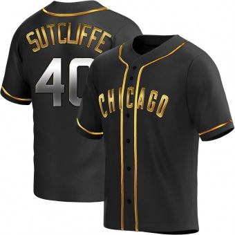 Men's Rick Sutcliffe Chicago Black Golden Replica Alternate Baseball Jersey (Unsigned No Brands/Logos)
