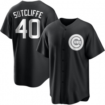 Men's Rick Sutcliffe Chicago Black/White Replica Baseball Jersey (Unsigned No Brands/Logos)