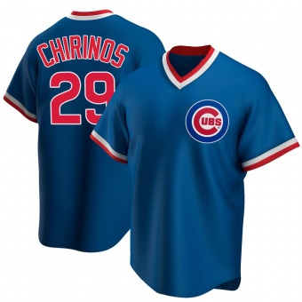 Men's Robinson Chirinos Chicago Royal Replica Road Cooperstown Collection Baseball Jersey (Unsigned No Brands/Logos)