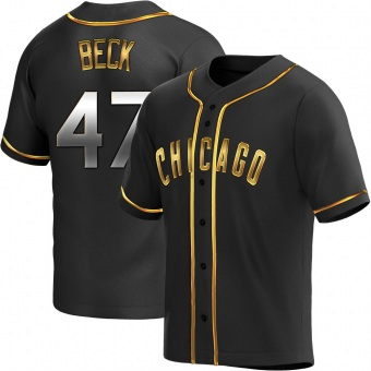 Men's Rod Beck Chicago Black Golden Replica Alternate Baseball Jersey (Unsigned No Brands/Logos)