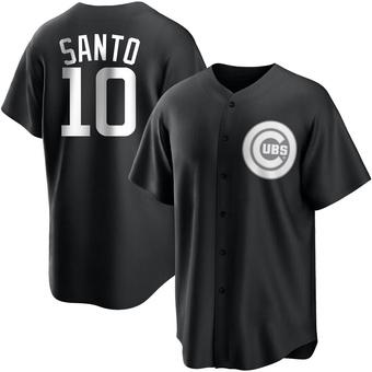 Men's Ron Santo Chicago Black/White Replica Baseball Jersey (Unsigned No Brands/Logos)