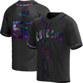 Men's Rowan Wick Chicago Black Holographic Replica Alternate Baseball Jersey (Unsigned No Brands/Logos)