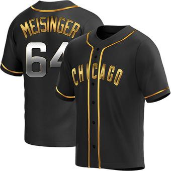 Men's Ryan Meisinger Chicago Black Golden Alternate Baseball Jersey (Unsigned No Brands/Logos)