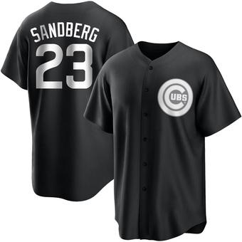 Men's Ryne Sandberg Chicago Black/White Replica Baseball Jersey (Unsigned No Brands/Logos)