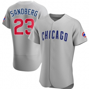 Men's Ryne Sandberg Chicago Gray Authentic Road Baseball Jersey (Unsigned No Brands/Logos)