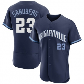Men's Ryne Sandberg Chicago Navy Authentic 2021 City Connect Baseball Jersey (Unsigned No Brands/Logos)