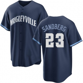 Men's Ryne Sandberg Chicago Navy Replica 2021 City Connect Baseball Jersey (Unsigned No Brands/Logos)