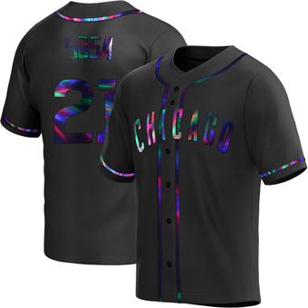 Men's Sammy Sosa Chicago Black Holographic Replica Alternate Baseball Jersey (Unsigned No Brands/Logos)