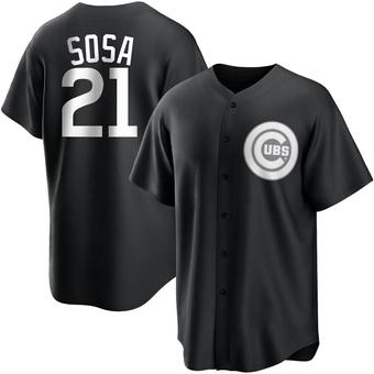 Men's Sammy Sosa Chicago Black/White Replica Baseball Jersey (Unsigned No Brands/Logos)