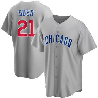 Men's Sammy Sosa Chicago Gray Replica Road Baseball Jersey (Unsigned No Brands/Logos)