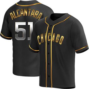 Men's Sergio Alcantara Chicago Black Golden Replica Alternate Baseball Jersey (Unsigned No Brands/Logos)