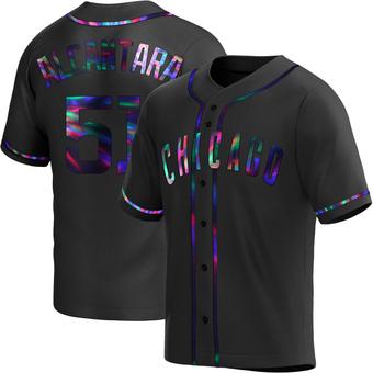 Men's Sergio Alcantara Chicago Black Holographic Replica Alternate Baseball Jersey (Unsigned No Brands/Logos)