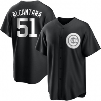 Men's Sergio Alcantara Chicago Black/White Replica Baseball Jersey (Unsigned No Brands/Logos)