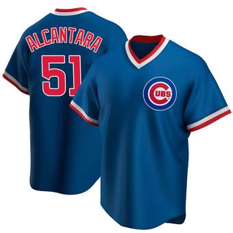 Men's Sergio Alcantara Chicago Royal Replica Road Cooperstown Collection Baseball Jersey (Unsigned No Brands/Logos)