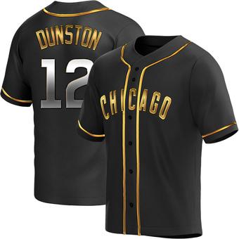 Men's Shawon Dunston Chicago Black Golden Replica Alternate Baseball Jersey (Unsigned No Brands/Logos)