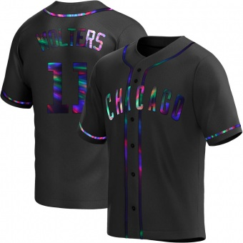Men's Tony Wolters Chicago Black Holographic Replica Alternate Baseball Jersey (Unsigned No Brands/Logos)