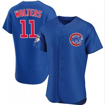 Men's Tony Wolters Chicago Royal Authentic Alternate Baseball Jersey (Unsigned No Brands/Logos)