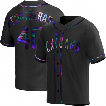 Men's Willson Contreras Chicago Black Holographic Replica Alternate Baseball Jersey (Unsigned No Brands/Logos)