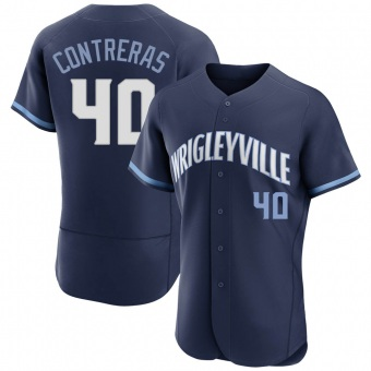 Men's Willson Contreras Chicago Navy Authentic 2021 City Connect Baseball Jersey (Unsigned No Brands/Logos)