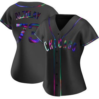 Women's Adbert Alzolay Chicago Black Holographic Replica Alternate Baseball Jersey (Unsigned No Brands/Logos)