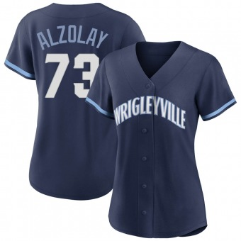Women's Adbert Alzolay Chicago Navy Authentic 2021 City Connect Baseball Jersey (Unsigned No Brands/Logos)